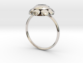 Diamond Ring US Size 8 UK Size Q in Rhodium Plated Brass