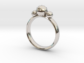 GeoJewel Ring UK Size O US Size 7 in Rhodium Plated Brass