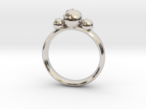GeoJewel Ring UK Size R US Size 8 5/8 in Rhodium Plated Brass