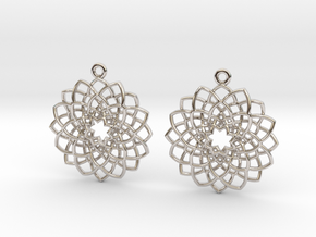 Mandala Flower Earrings in Rhodium Plated Brass