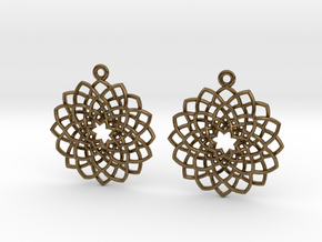 Mandala Flower Earrings in Natural Bronze