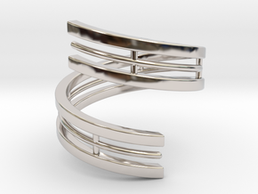 Bars & Wire Ring Size 6 in Rhodium Plated Brass