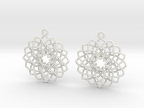 Mandala Flower Earrings in White Natural Versatile Plastic