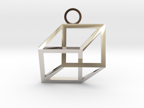 Impossible Cube Necklace in Rhodium Plated Brass
