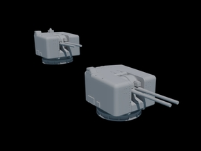1/350 Scale. Twin 4.5 Mk 6 Naval Guns. Pack of two in Smooth Fine Detail Plastic