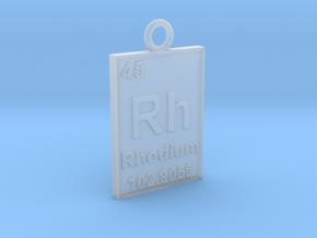 Rhodium Periodic Table Pendant in Smooth Fine Detail Plastic