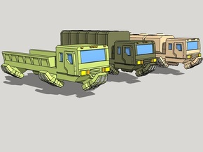 3mm Military Anti-Grav Cargo Trucks (12pcs) in Smooth Fine Detail Plastic