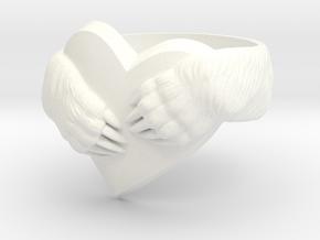 """Bear hug"" Ring in White Processed Versatile Plastic: 11.5 / 65.25"