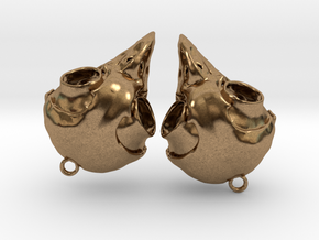 Screech Owl Skull Earrings (one pair - a set of 2) in Natural Brass
