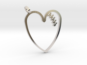 Mended Heart Pendant in Rhodium Plated Brass