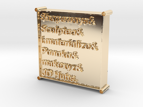 3D Printing Services List Pendant in 14k Gold Plated Brass
