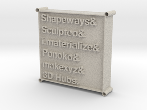 3D Printing Services List Pendant in Natural Sandstone