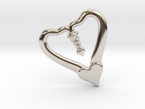 Valentine, 1.5 SCALE 2 Hearts, One Love in Rhodium Plated Brass