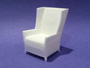 Apsen Wing Back Lounge 1:24 scale in White Natural Versatile Plastic