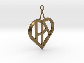Heart of love pendant [customizable] in Natural Bronze