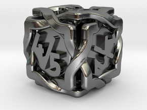 'Twined' Dice D6 Gaming Die Tarmogoyf P/T Version in Polished Silver