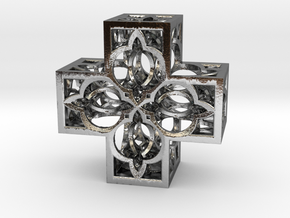 Fractal Cross H4 75mm in Polished Silver