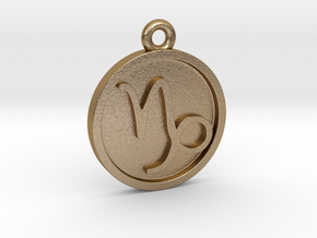Capricorn/Steinbock Pendant in Polished Gold Steel