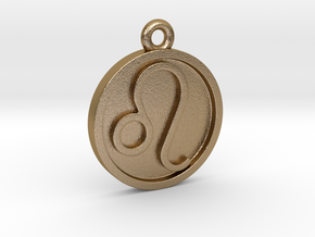 Leo/Löwe Pendant in Polished Gold Steel