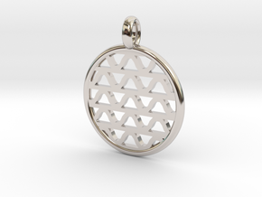 DRAW pendant - waves A in Rhodium Plated Brass