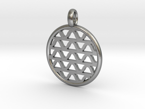 DRAW pendant - waves A in Natural Silver