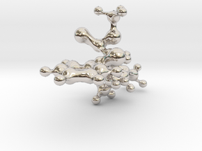 Cocaine statement pendant [3D] in Rhodium Plated Brass