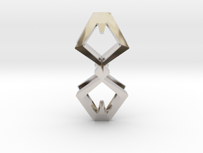 HEAD TO HEAD Duo, Pendant  in Rhodium Plated Brass