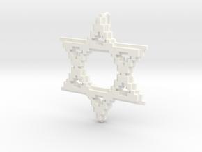 8-Bit Star of David pendant (big) in White Processed Versatile Plastic