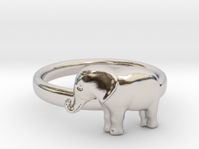 Elephant Ring in Rhodium Plated Brass