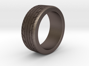 Tire Ring Size 9 in Polished Bronzed Silver Steel