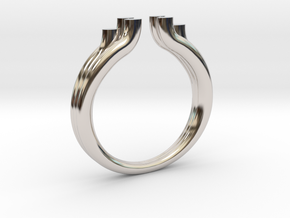 Tres 2 in Rhodium Plated Brass