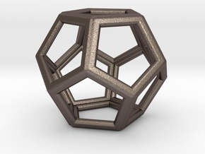 DODECAHEDRON (Platonic) in Polished Bronzed Silver Steel