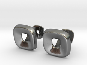 Square Halo Cufflinks in Polished Silver