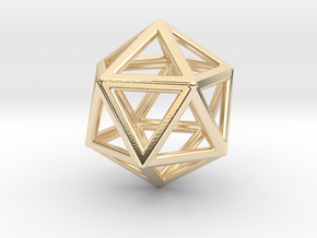 ICOSAHEDRON (Platonic) in 14k Gold Plated Brass