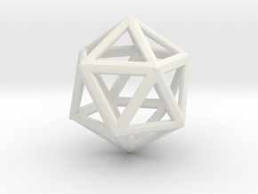 ICOSAHEDRON (Platonic) in White Natural Versatile Plastic