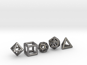PLATONIC SOLIDS (full set) in Polished Nickel Steel