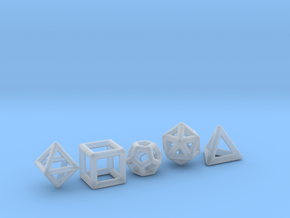 PLATONIC SOLIDS (full set) in Smooth Fine Detail Plastic