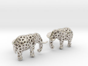 Elephant Cufflinks in Rhodium Plated Brass