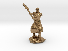 Human Fighter Noblewoman with Greataxe & Chainmail in Natural Brass