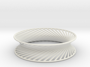 Hyperboloid Structure Bracelet in White Natural Versatile Plastic