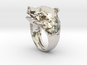 Bear ring in Rhodium Plated Brass