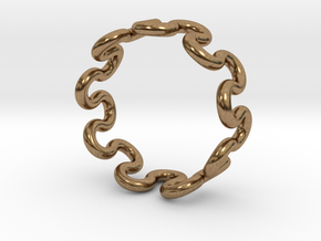 Wave Ring (17mm / 0.66inch inner diameter) in Natural Brass