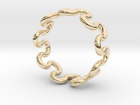 Wave Ring (25mm / 0.98inch inner diameter) in 14k Gold Plated Brass