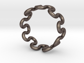 Wave Ring (15mm / 0.59inch inner diameter) in Polished Bronzed Silver Steel