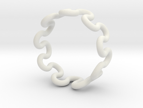 Wave Ring (20mm / 0.78inch inner diameter) in White Natural Versatile Plastic
