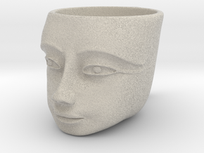 Tutankhamen Face on a Cup (Egyptian Pharaoh) in Natural Sandstone