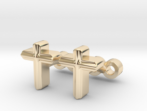 Cross Cufflinks Set in 14K Yellow Gold
