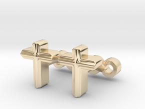 Cross Cufflinks Set in 14K Yellow Gold