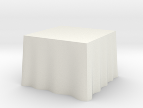 "1:48 Draped Table - 36"" square in White Strong & Flexible"