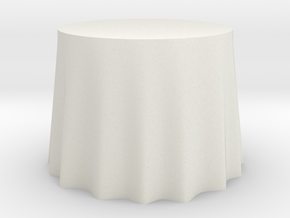 "1:48 Draped Table - 36"" diameter in White Strong & Flexible"
